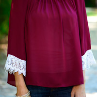 Lace Yourself Blouse, Burgundy/White