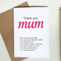 Mother's Day card thank you mum all reasons with love for mum elegant