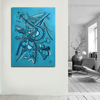 """Original abstract painting on canvas. 30x40"""" Geometric with blue, turquoise, black, white. Canvas art. Big painting. Blue painting."""