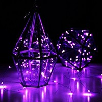 Yoland LED Copper Wire Lights, 33Ft 100LEDs with 12V AC/DC Power Adapter String Light, Fairy Starry Light for Christmas, Holidays, Garden, Party, Patio Decor, Purple