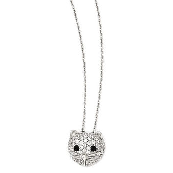 Cheryl M Sterling Silver Black And White CZ Cat Necklace