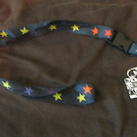 """Black with Multi Colored Stars Design 15"""" lanyard for ID Holder Mobile Device"""