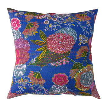 "16"" Blue Indian Floral Kantha Accent Cotton Throw Pillow Case Sham"
