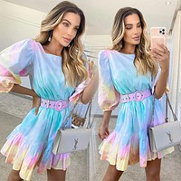 2020 new products women's fashion tie-dye holiday style ruffled waist slim printed dress