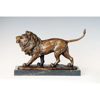 Office Decor Brass Lion Sculpture Bronze Figurine