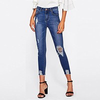 Bleach Wash Distressed Rock Denim Jeans Women Casual High Waist Button Fly Ripped Pants Jeans