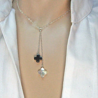 Y Necklace, MOP Clover Necklace, 925 Sterling Silver, Hematite Cross Necklace, Delicate Jewelry, Dainty Thin Chain, Gift Under 30