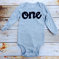 Black on Heather grey with long sleeve one Onesuit- boys 1st Birthday outfit first birthday outfit for baby photography