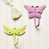 Butterfly and Dragonfly Wall Hooks - Choose Your Color - Colorful Cast and Crew