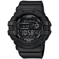 Casio Ladies All-Black Baby-G - Flash Alert and 3D Protection - 200 Meter WR