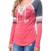 Detroit Redwings Womens Laceup Long Sleeve Top   SportyThreads.com