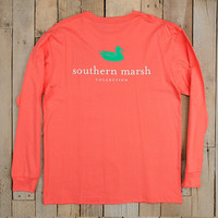 Southern Marsh Authentic Long Sleeve Tee- Coral
