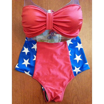 Patriotic Pin-up High waist bikini set