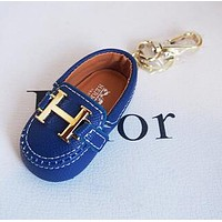 Hermes Newest Popular Cute Mini Cowhide Bag Small Shoes Hanging Drop Car Key Chain Bag Accessories Blue