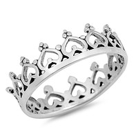 Sterling Silver Queen of Love Heart Crown Ring 6MM
