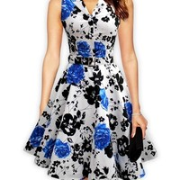 Floral Printed Patchwork Vintage Awesome Lapel Skater-dress