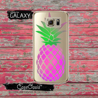 Pink Green Pineapple Cutout Fruit Summer Inspired Tumblr Inspired Clear Galaxy S6 Case and Clear Galaxy S6 Edge Case Custom Samsung Case