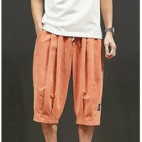 Fashion Casual Men Patched Drawstring Waist Shorts