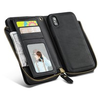 iPhone X Edition Wallet Case Wrist Strap,Magnetic Removable Zipper Wallet Case [Large Capacity] Folio Flip Credit Card Slots Cash Holder Zipper Closure Purse Clutch Case for iPhone X Edition (Black)
