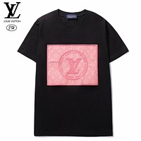 LV New fashion embroidery letter print couple top t-shirt Black