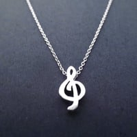 Treble, Clef, Necklace, G Clef, Silver, Music, Lover, Song, Simple, Jewelry, For Her