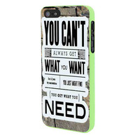 Rolling Stones You Cant Get What You Want Lyrics iPhone 5 Case Framed Green