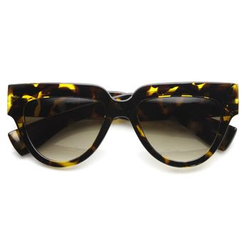 Womens Retro Bold Frame Flat Top Hipster Sunglasses 9227