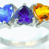 3 Carat Tanzanite Amethyst and Citrine Heart Ring .925 Sterling Silver Rhodium Finish White Gold Quality