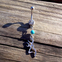 Browning Deer Head White Belly Ring Body Jewelry