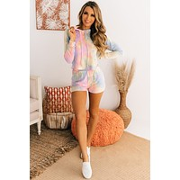Chill Worthy Tie Dye French Terry Set (Pink/Yellow/Blue)