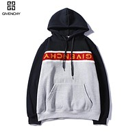 Givenchy Autumn And Winter New Fashion Letter Print Women Men Contrast Color Hooded Long Sleeve Sweater Gray