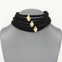"""12"""" black braided faux suede multi strand layer choker collar necklace"""