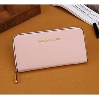 Pink MICHAEL KORS Women Leather Zipper Wallet Purse
