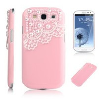 Pandamimi Deluxe Pink Hard Back Cover with White Lace for Samsung Galaxy S-iii S3 I9300 (At & T, T Mobile, Sprint, Verizon, U.s.cellular) with Screen Protector