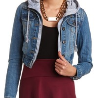 LAYERED HOODED DENIM JACKET