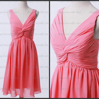 Custom A-line V-neck Knee-length Chiffon Pleat Coral Short Bridesmaid Dress Prom Dress Formal Evening Dress Party Dress 2013
