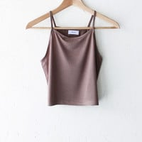 Knit Cami Crop Top - Taupe