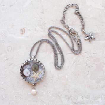 Sea Urchin Necklace Starfish Eye of Shiva Behind Glass Sea Life Necklace