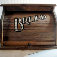 Wooden Roll Top Bread Box by scarletbegoniavntg on Etsy