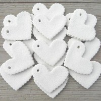 Wholesale  DIY Valentine's Day Ruffled Hearts Supplies Collection of 10 Mini Heart Unfinished Salt Dough Ornaments