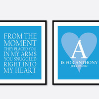From the moment they placed you in my heart quote - Customizable Kids Art - Nursery Wall Art Duo - Word Art - Two 8 x 10 Prints - Baby Gift