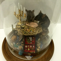 "Taxidermied Mice ""The Seance"" Handmade Anthropomorphic Mouse Taxidermy Scene in Dome"
