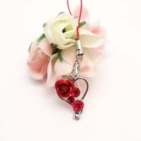 Red Heart And Rose Cell Phone Charm Strap Rhine Stone