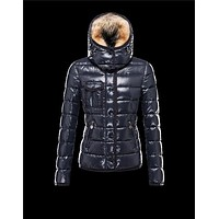 Moncler Armoise Detachable Fur Trimmed Blue Jackets Lacquered Nylon Womens 41224515ML