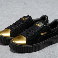 Mens Womens Puma Fenty by Rihanna Creepers Black Gold Suede Shoes