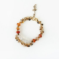 Stylish Bracelet made of Brownish Red Carnelian Stone and Shimmery White Moonstone Chips, Gold Music Note Charm