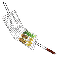 Evelots® Wire Non-Stick Triple Fish & Vegetable Basket Wood Handle, Grilling Tool