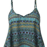 LE3NO Womens Flowy Chiffon Printed Strappy Crop Top (CLEARANCE)