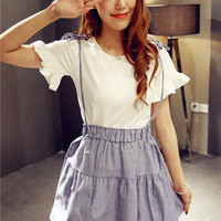 White Ruffled Sleeve Shirt + Loose Strap Skirt