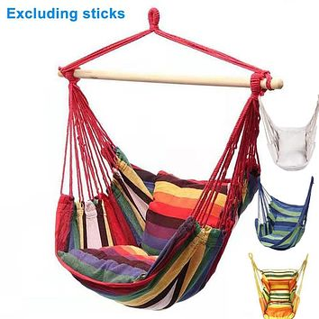 Portable Hammock Chair Canvas Bed Hammocks Garden Swing Hanging Leisure Lazy Rope Chair Swing Indoor Bedroom Seat Camping